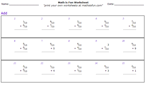 Number Names Worksheets grade 6 fraction worksheets Free – Grade 6 Math Worksheets Fractions