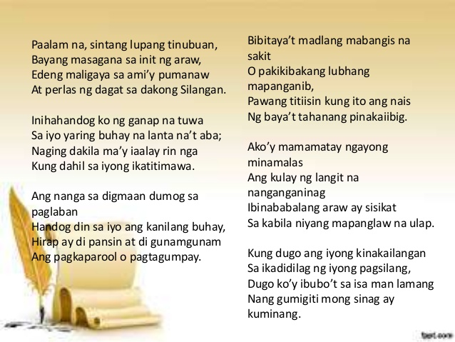 meaning of song of maria clara poem by rizal The main meaning of the poem called our mother tongue is about love and pride the song maria clara sang this is another religious poem by rizal.