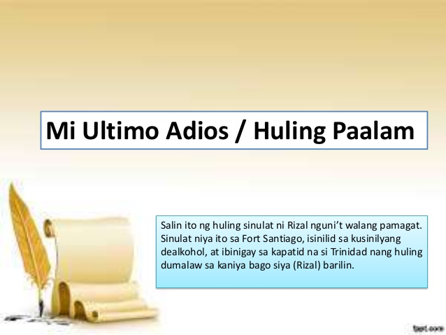 reaction of the poem mi ultimo adios The last poem of rizal: his friend mariano ponce gave it the title of mi ultimo adios, as it originally had none farewell, my adored land, region of the sun caressed.
