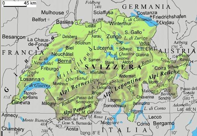 Cartina Geografica Svizzera.La Svizzera