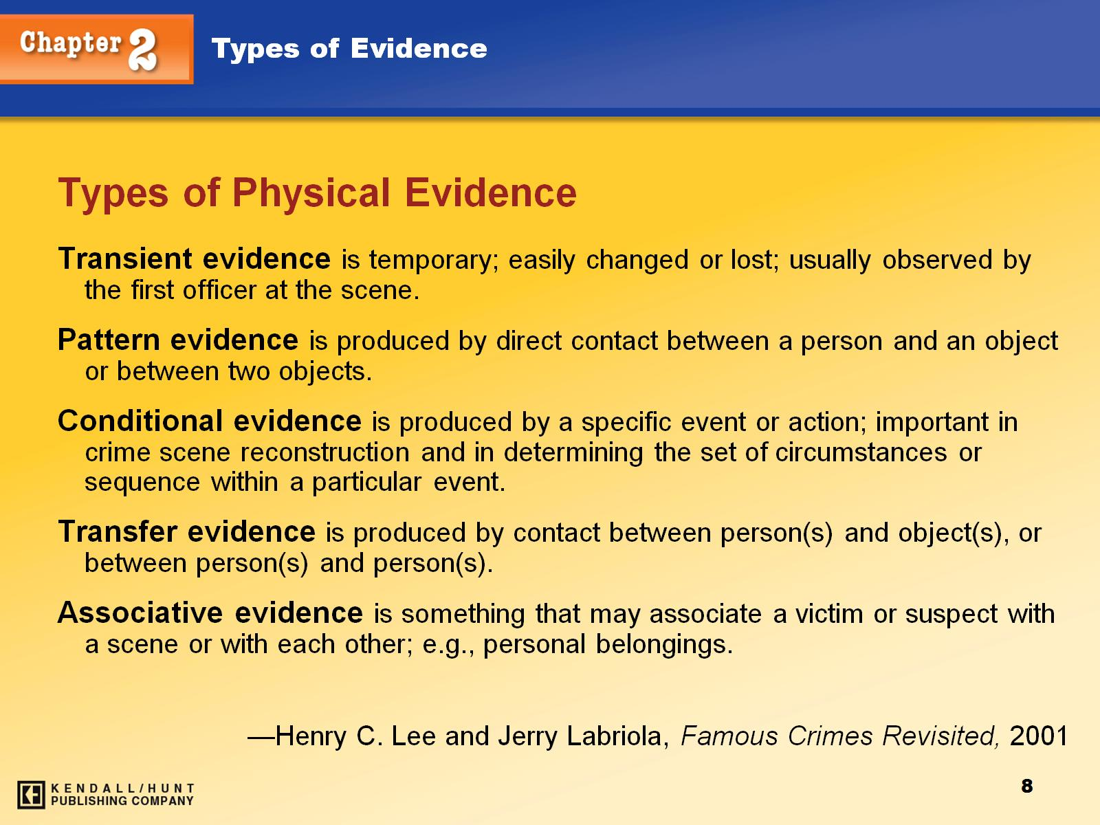 the importance of physical evidence The examination of physical evidence physical evidence is usually examined by a forensic scientist for identification or comparison the importance of dna evidence what is dna is it these winding strands that look like ladders or is it what gives a person blonde hair and blue eyes.