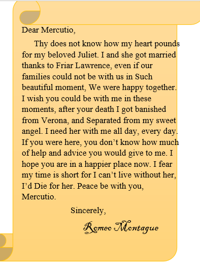 letter from romeo to juliet