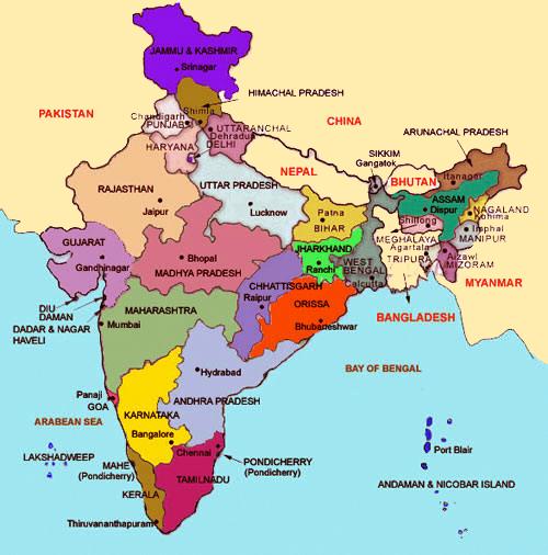 India Politica Cartina.India