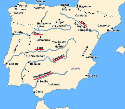 Cartina Fiumi Spagna.La Spagna