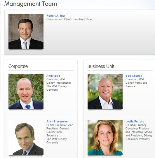walt disney company organizational structure
