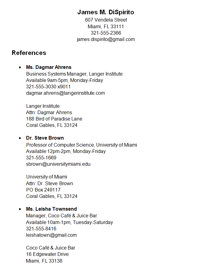 resume samples reference page