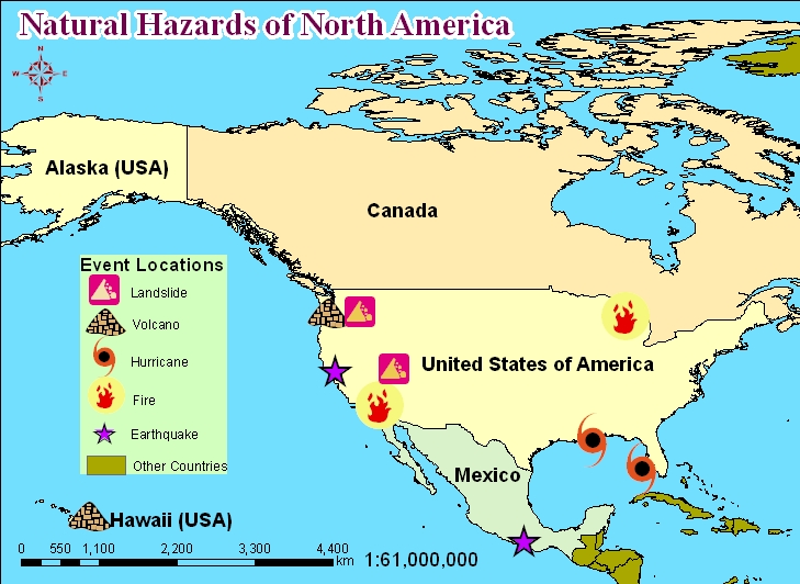 Active Volcanoes In Us Map: North American Volcanoes Map At Slyspyder.com
