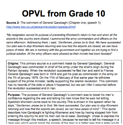 annotated bibliography opvl