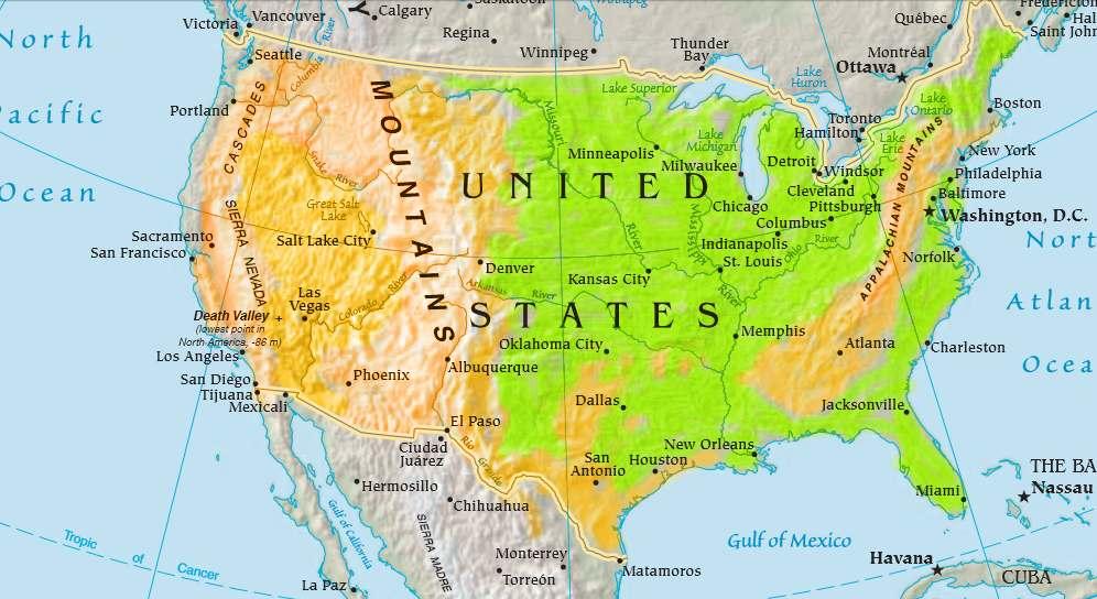 Cartina Morfologica Stati Uniti.Gli Stati Uniti By Mcorvacchioli52 On Emaze