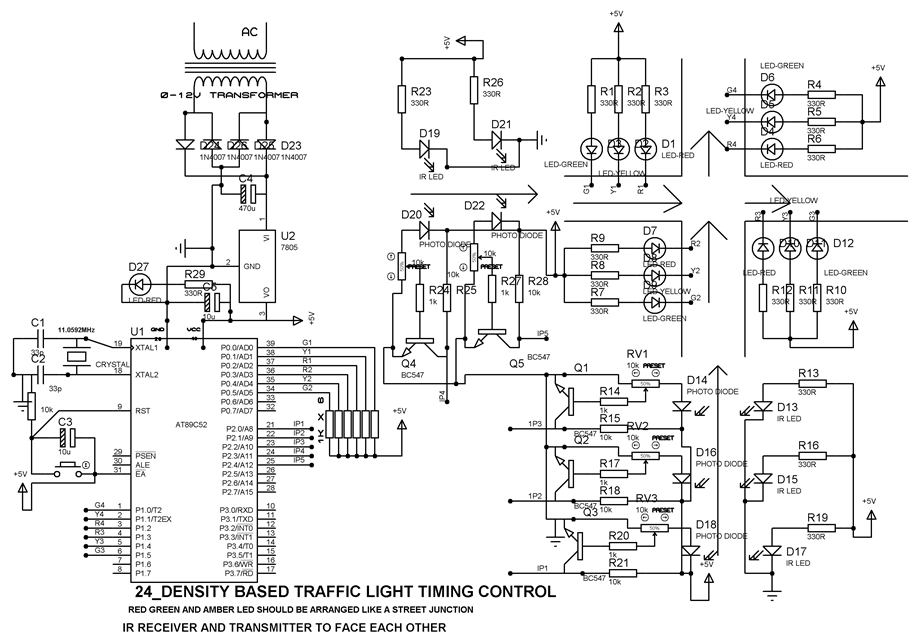 density based traffic signal system using microcontroller