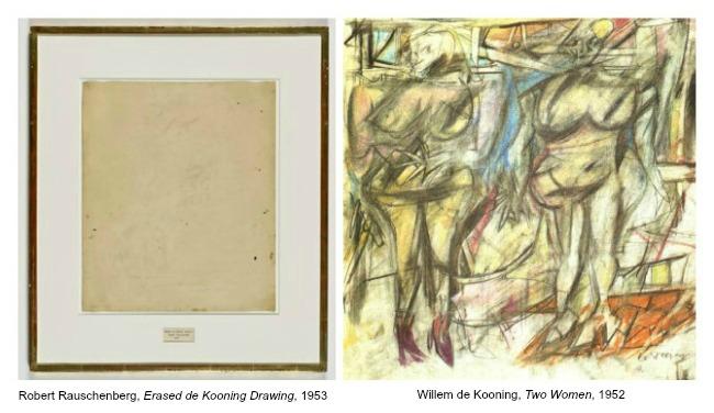 """Résultat de recherche d'images pour """"rauschenberg kooning erased picture"""""""
