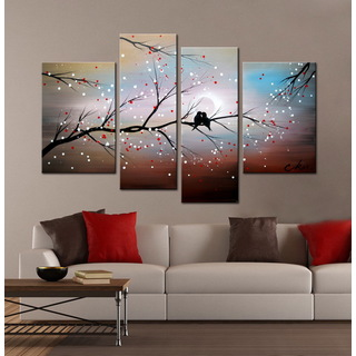 this art piece included a tree branch with an abstract background this painting was supposed to make the viewer feel more happy because of all the bright