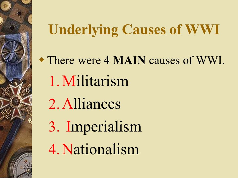 world war one essay causes 3 causes of world war 1 essay world war 1 - 503 words world war i the united states originally had a policy of isolationism, avoiding conflict while trying to find peace.