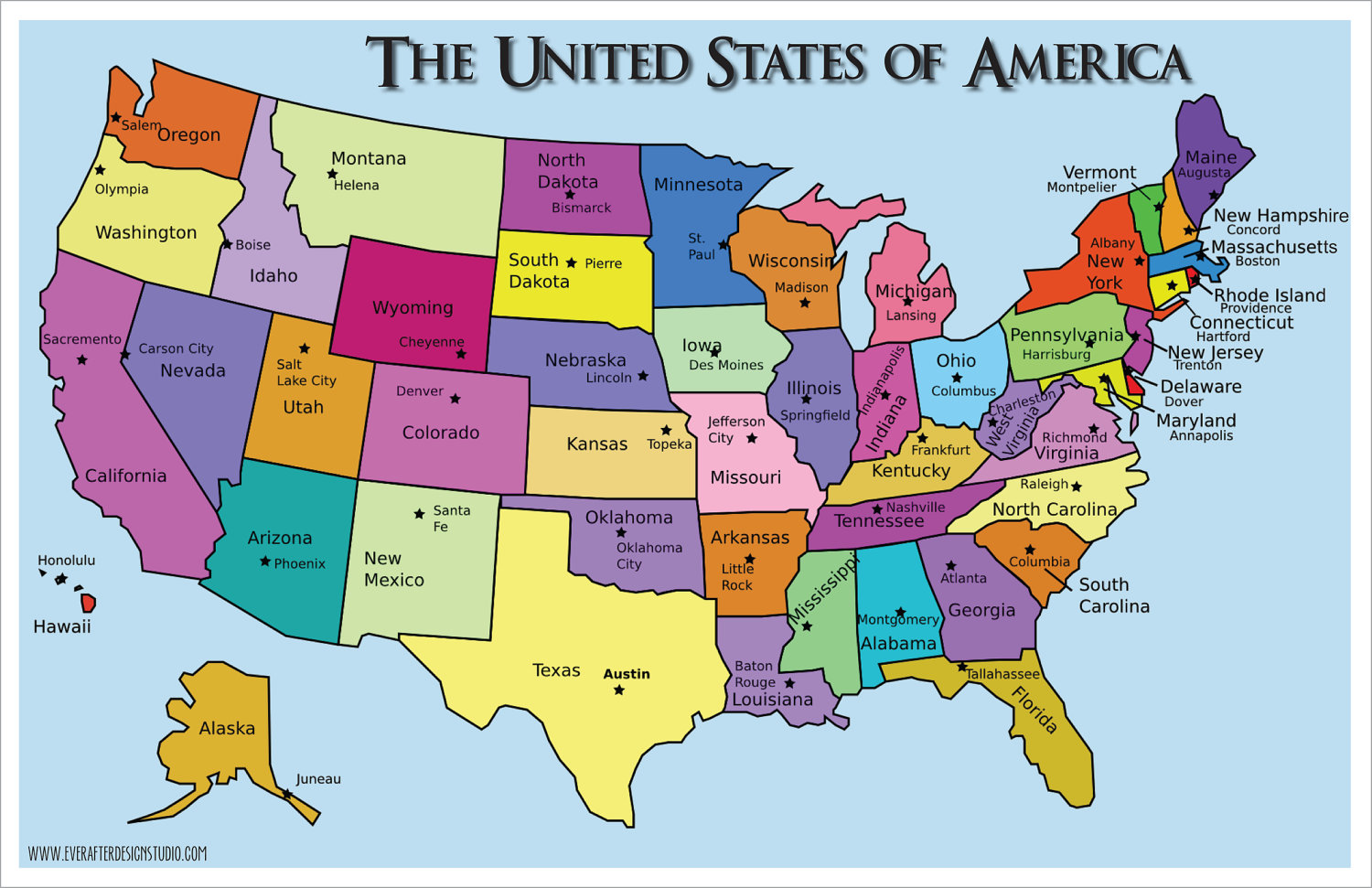 United States Map With Names Map Of The World USA  States With - Us map outline with names of states