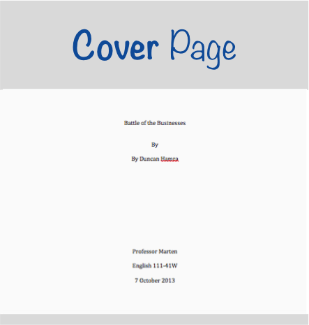 what does an mla cover page look like