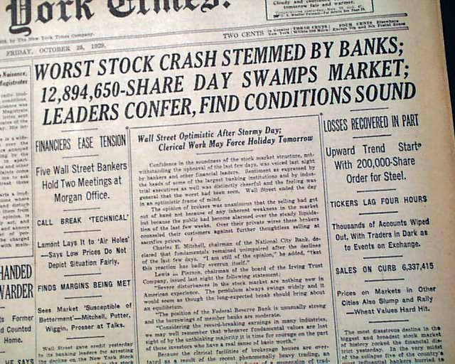 Stock market crash 1929 headline