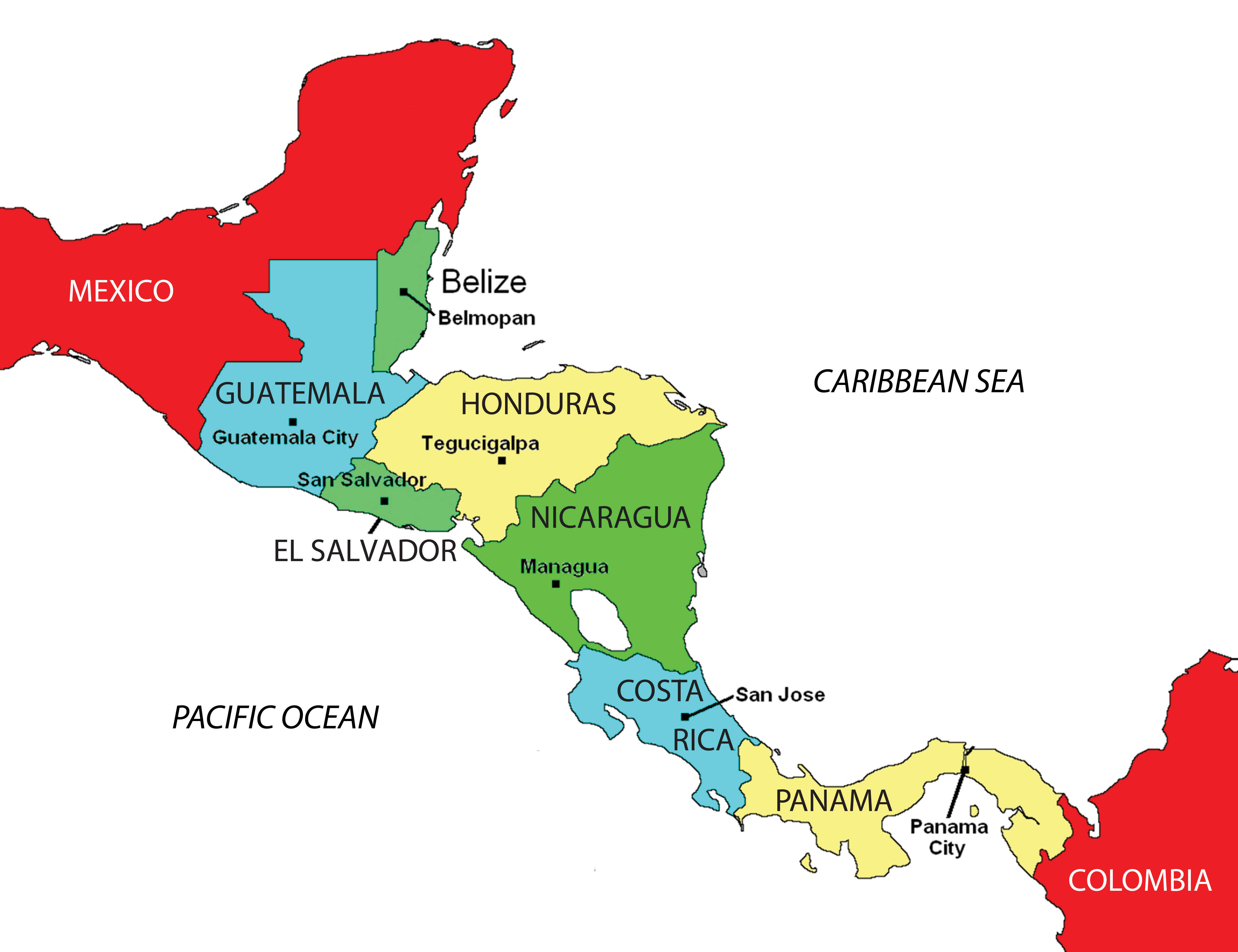 Mexico On Emaze - Map of central and north america with capitals