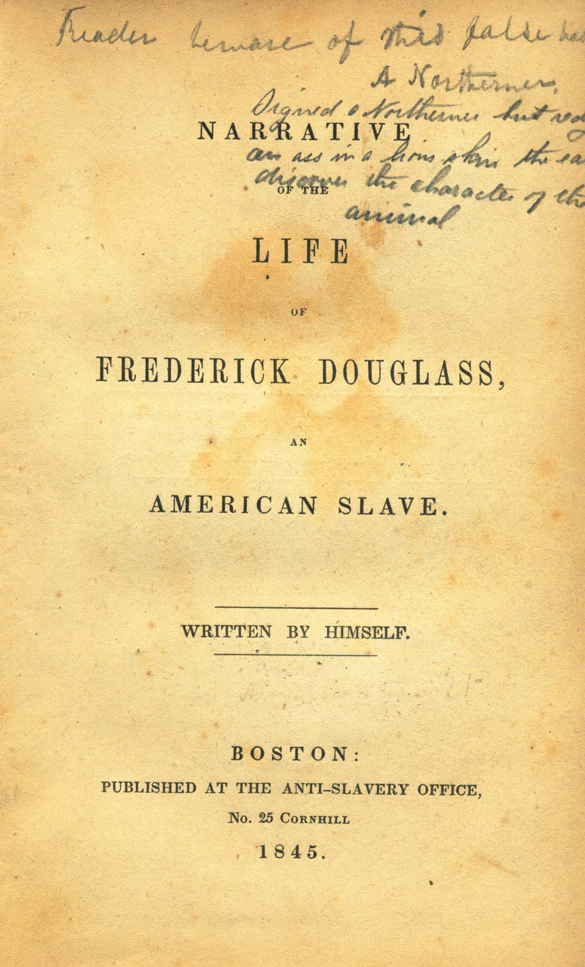 an analysis of the era of slavery in the narrative of the life of frederick douglass Douglass is born on a huge slave plantation in rural maryland, one of hundreds of slaves when we think of slavery, we usually conjure up an image of the deep south, or the old south, places like.