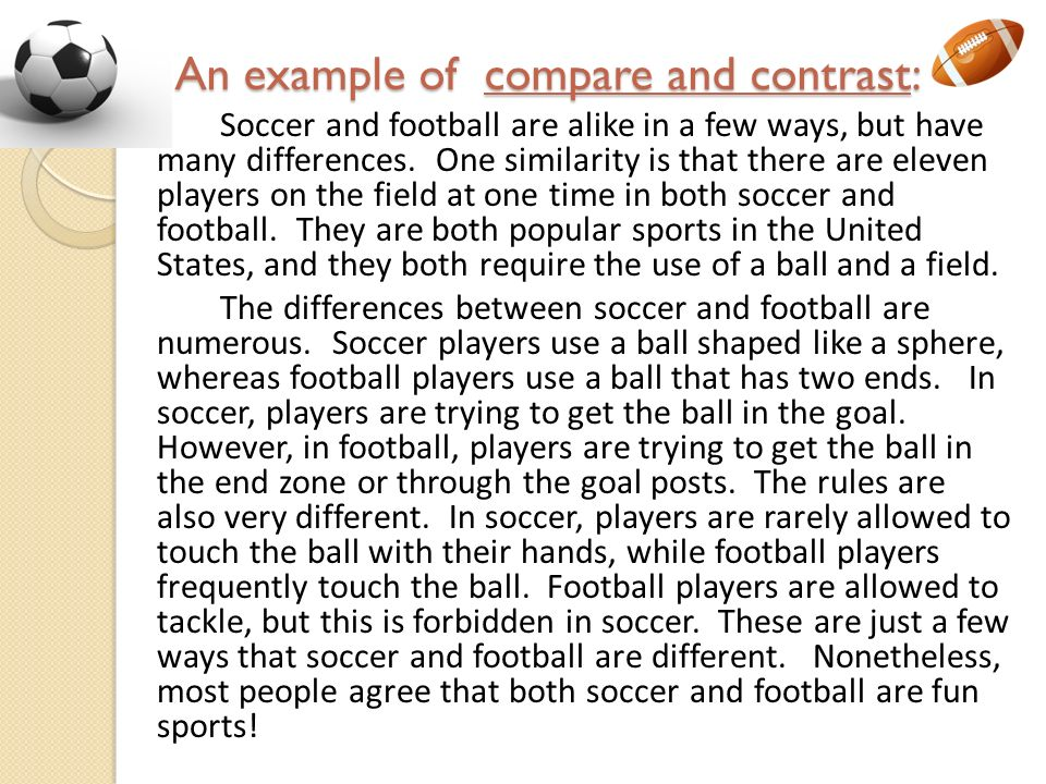 soccer and also western rugby review and additionally difference essay outline