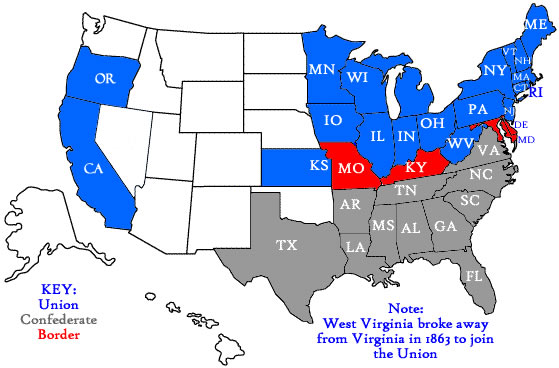 Map Of The United States Of America During The Civil War map of