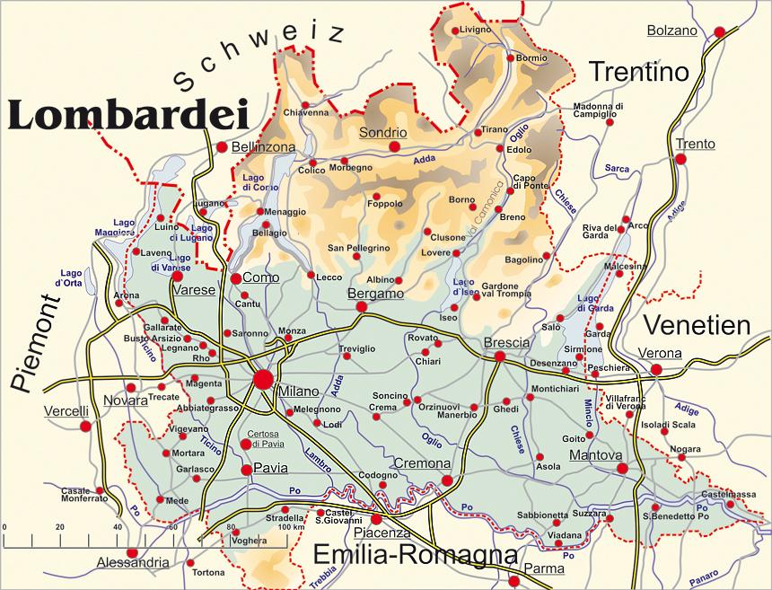 lombardei karte Italien Lombardei Karte   Kleve Landkarte