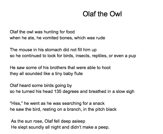 Octet poem example.