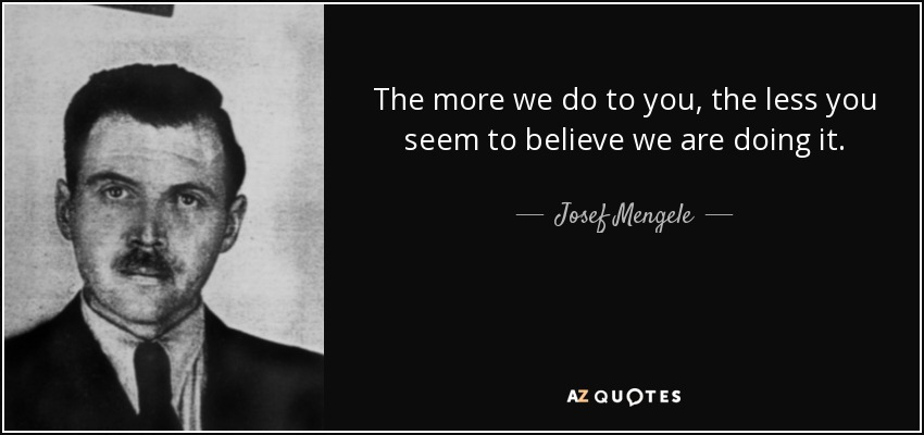 the life of dr mengele after the holocaust Eva and miriam mozes survived the deadly genetic experiments by josef mengele  mengele and dr konig  often shown in footage about the horrors of holocaust.