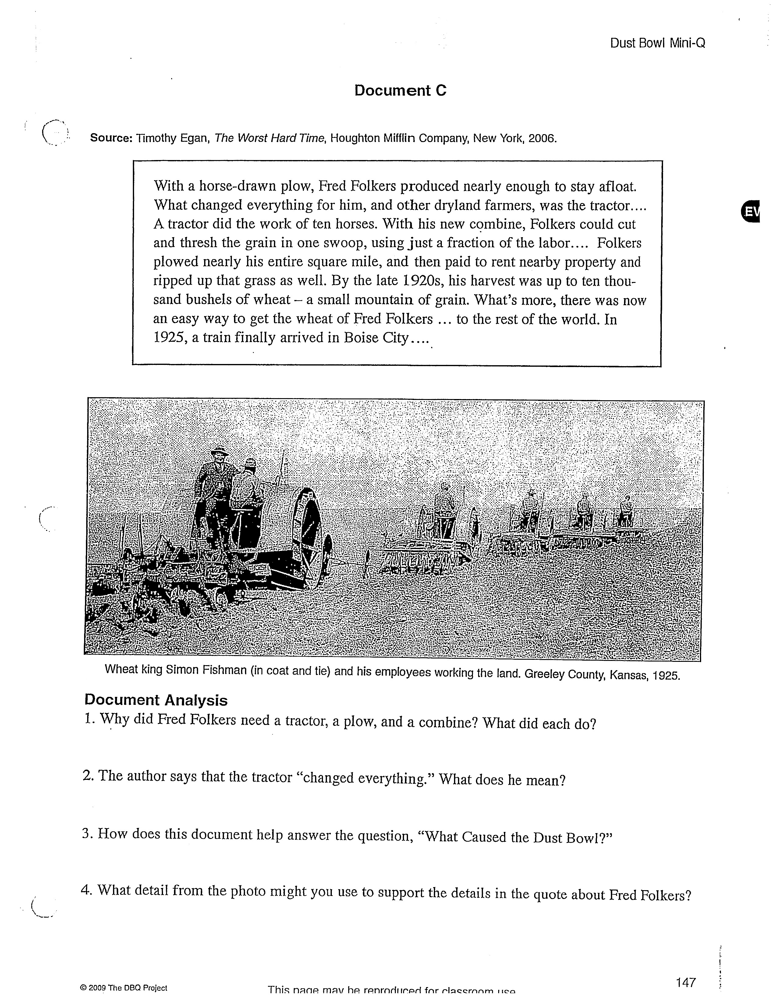 dust bowl migration essay Ual rating for a student's essay on the rating sheet provided, not directly   helped america to industrialize dust bowl migration: the farmers.