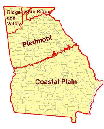 PiedmontGeorgia - Georgia map fall line