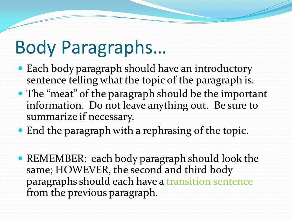 what should be in each paragraph of an essay Writing an outline  writing and outline  what is an outline an outline is a breakdown of the main and supporting ideas in your essay, report, or speech.