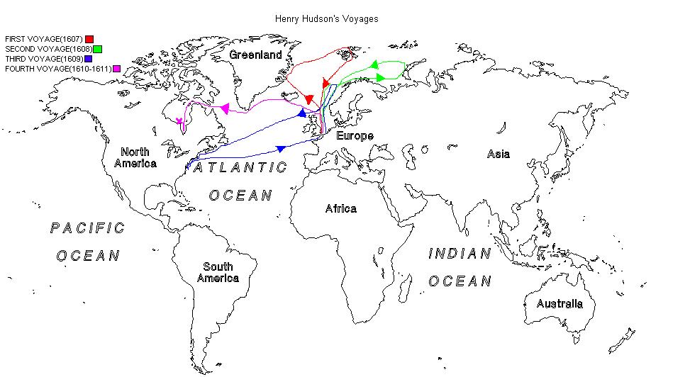 map of henry hudson 4 voyages alphatel
