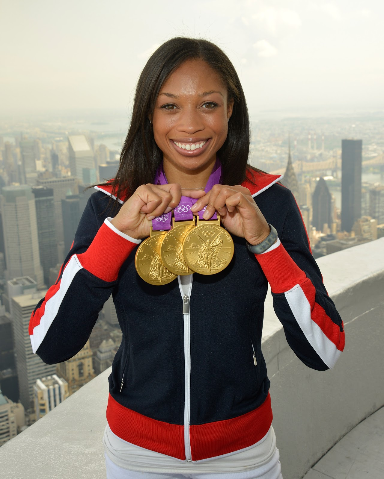 Allyson Felix with medals