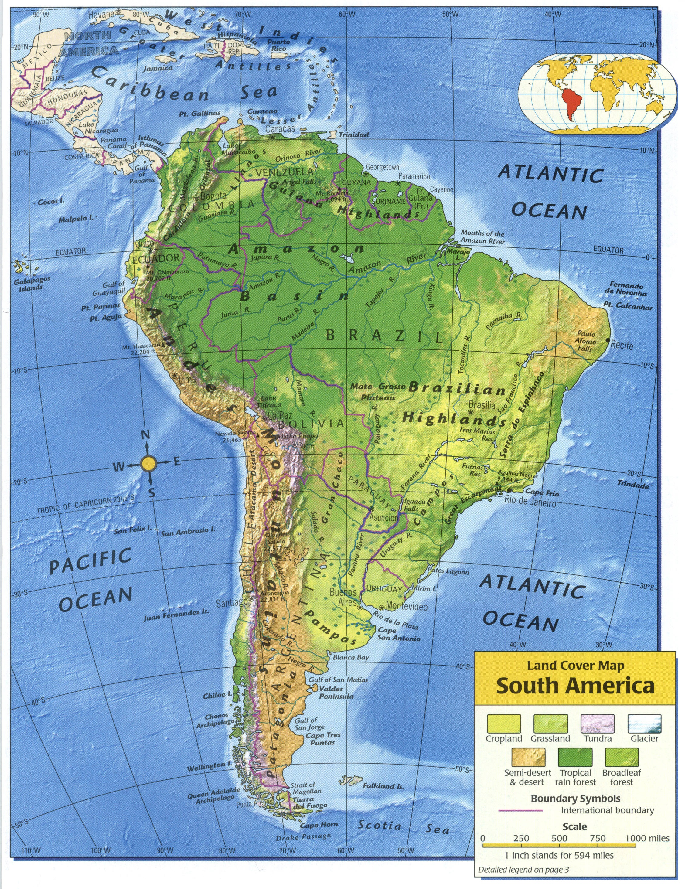 map of north and south america south america map including