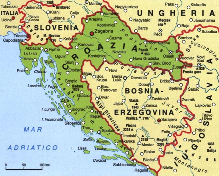 Cartina Muta Della Croazia.Croazia Cartina Fisica