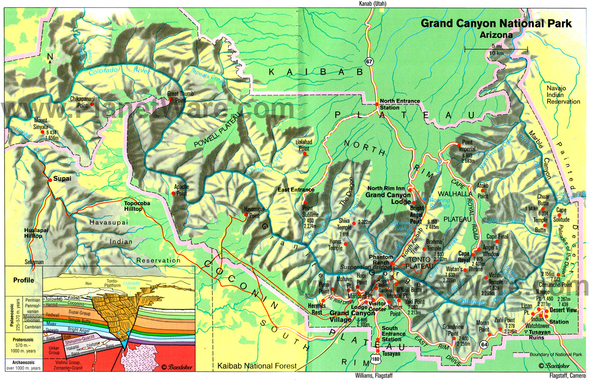 Maps Grand Canyon National Park US National Park Service OneWeek - Map west usa national parks