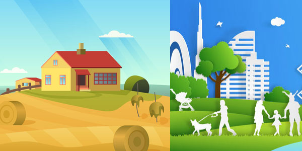 rural and urban settlements