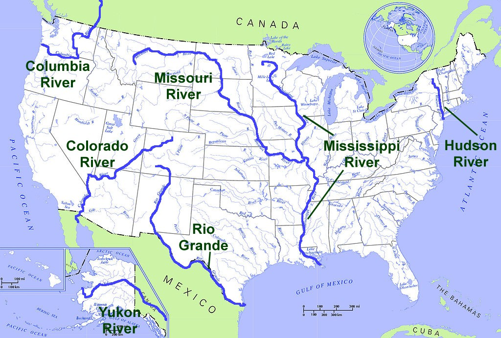List Of Rivers Of The United States Wikipedia United States Us Map - Us map lakes and rivers